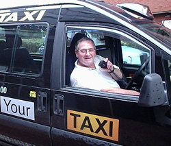 Bob in his old taxi